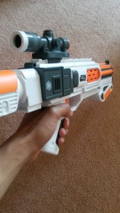 FPS shot of the Deluxe Blaster.