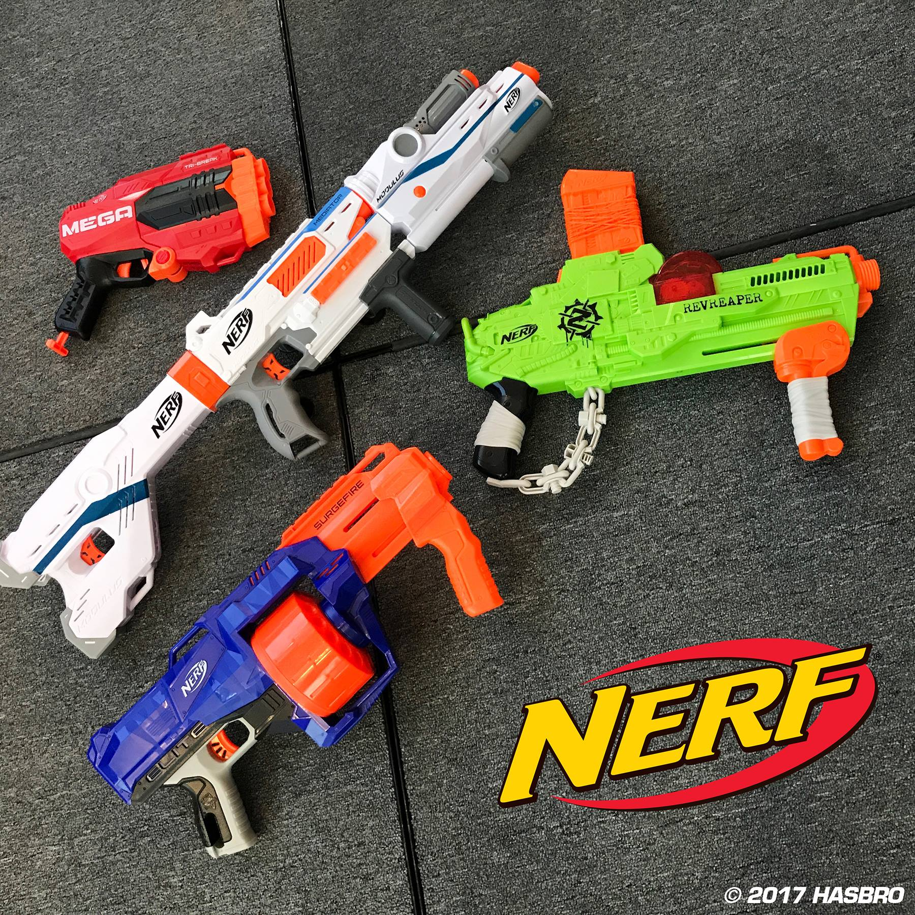 Nerf N-Strike Elite Rhino-Fire Blaster An awesome machine gun design with  two see-through dart drum clips make this a go-to weapon for special  support ...