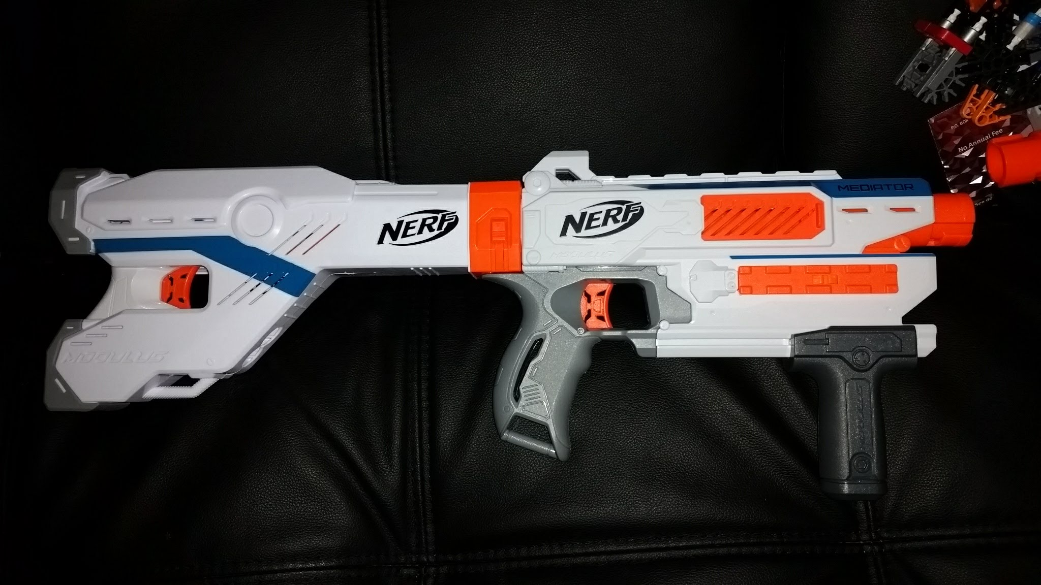 On the Mediator especially, the stock spaces everything out perfectly. With  the blaster set that far forward, there isn't any cramping in your dominant  arm, ...