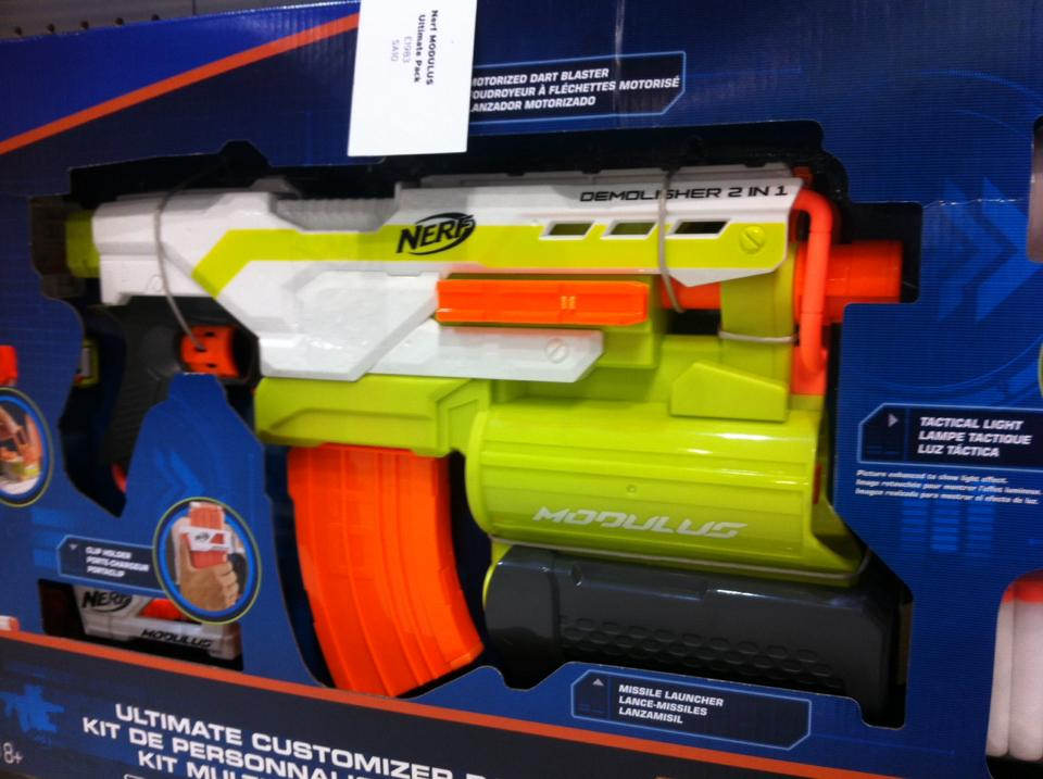 Here are three large pictures taken from Make Test Battle. Product  Description: NERF MODULUS ULTIMATE CUSTOMIZER PACK